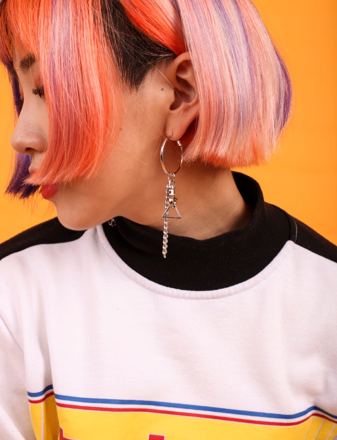 페퍼시즈닝(PEPPERSEASONING) UNBALANCE CHAIN EARRING